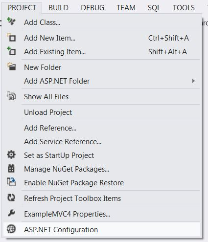 You can access the ASP.NET Configuration option from the Project Menu at the bottom