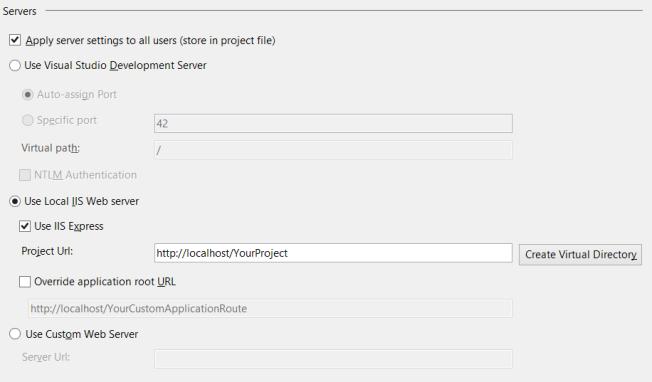 Visual Studio IIS and Server Settings