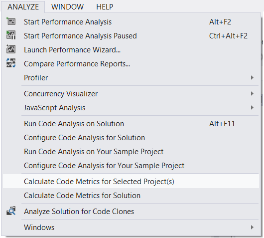 Code Metrics is available from the Analysis section of the Main Menu.