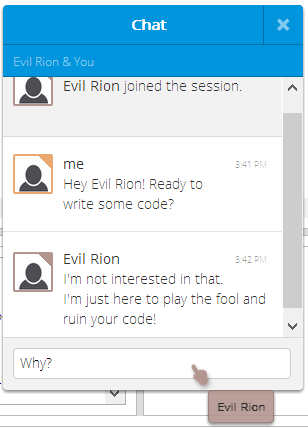 An example of a chat between two developers.