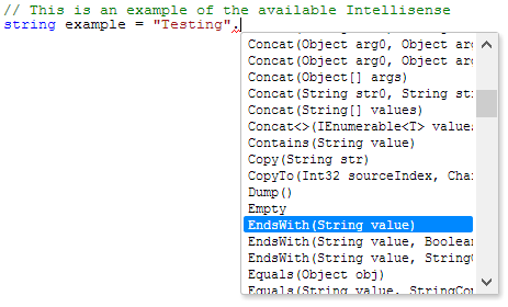 .NET Fiddle provides a basic level of Intellisense to bring about the familiarity of your favorite IDE.
