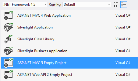 After installing the update, you'll see that MVC5 is now available in Visual Studio 2012.