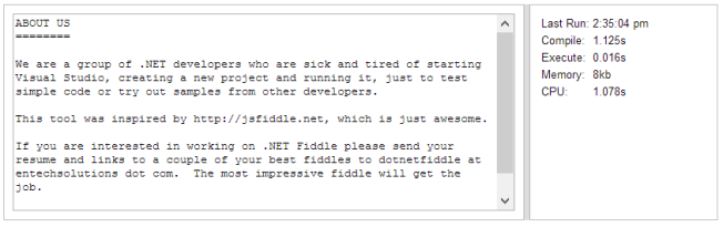 Example output from a .NET Fiddle that has been executed.