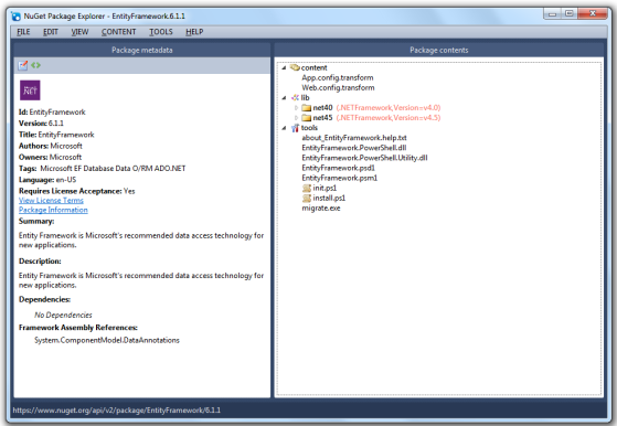 An example of exploring the EntityFramework NuGet Package.