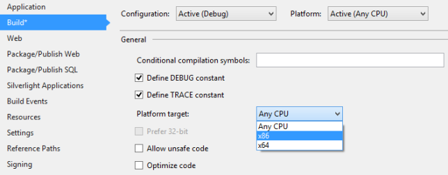 When encountering this issue, you'll undoubtedly toggle between x64, x86 and the Any CPU options. Success may vary by user.